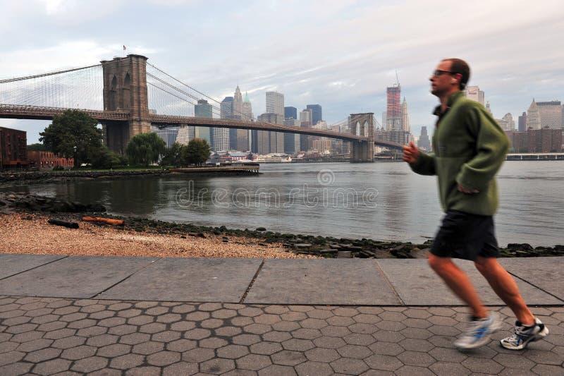 布鲁克林大桥在曼哈顿纽约 免版税库存图片