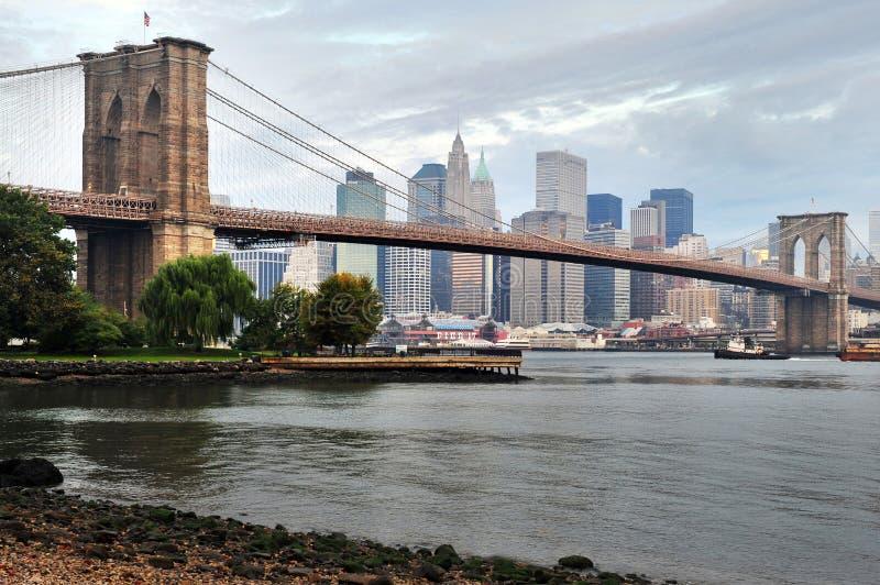 布鲁克林大桥在曼哈顿纽约 库存照片