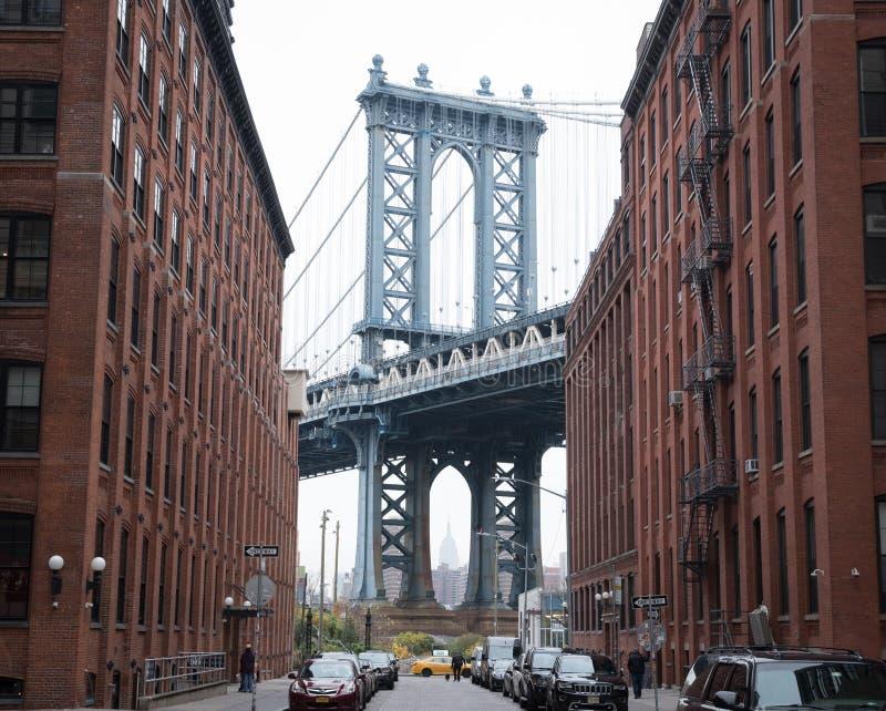 布鲁克林大桥在曼哈顿NY 库存照片