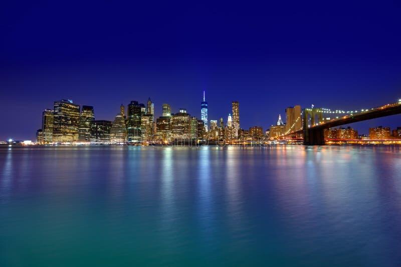 布鲁克林大桥日落纽约曼哈顿 库存照片