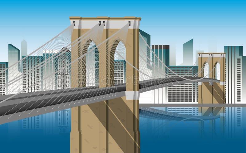 布鲁克林大桥曼哈顿例证 向量例证