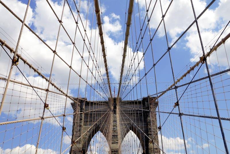 布鲁克林大桥的测深索 库存图片