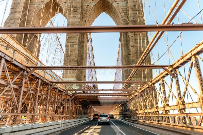 布鲁克林大桥路和市地平线,纽约 库存图片