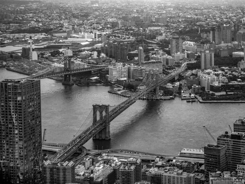 布鲁克林大桥鸟瞰图在纽约 库存照片