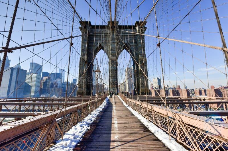 布鲁克林大桥,冬天-纽约 库存图片