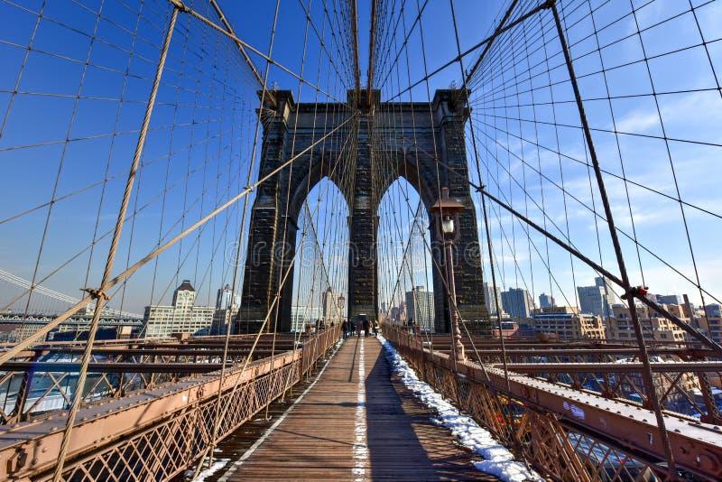 布鲁克林大桥,冬天-纽约 免版税库存图片