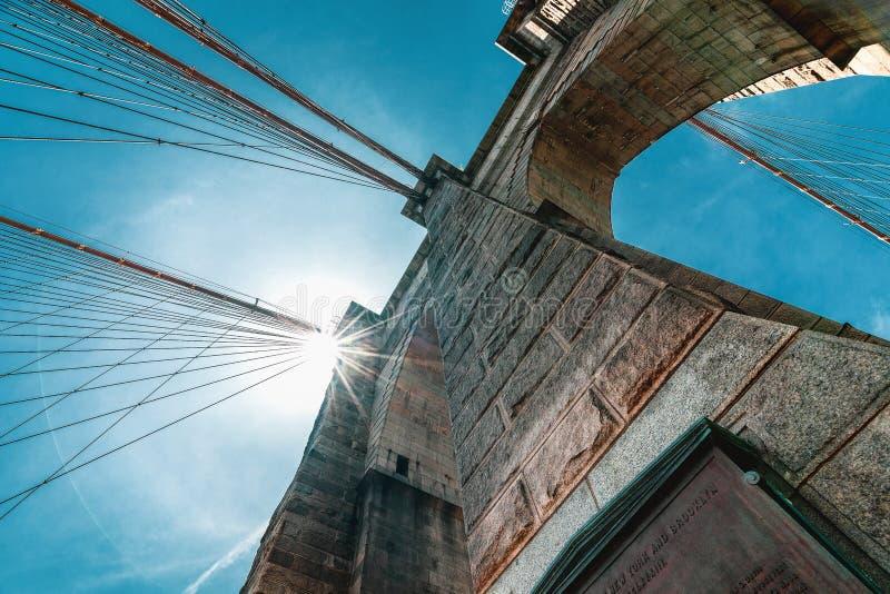 布鲁克林大桥,纽约 细节,低角度视图的建筑关闭,偶象钢缆绳反对明亮的太阳和蓝色 免版税库存图片