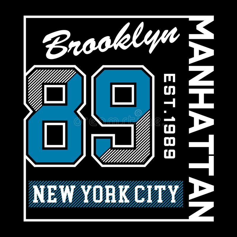 布鲁克林纽约曼哈顿印刷术设计发球区域 库存例证