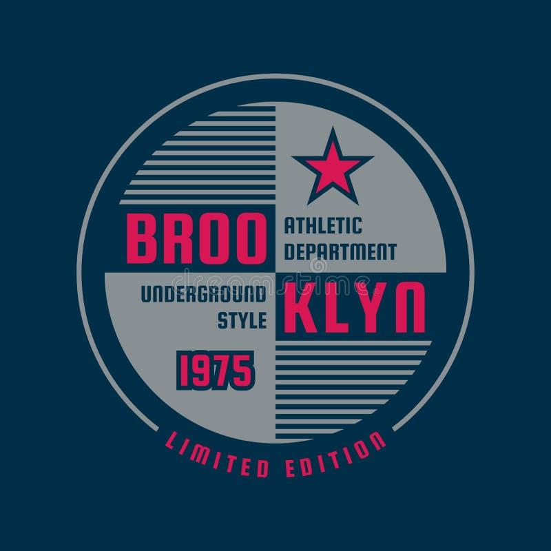 布鲁克林纽约-印刷术T恤杉的葡萄酒商标 两个颜色成套装备印刷品的减速火箭的艺术品徽章  向量 皇族释放例证