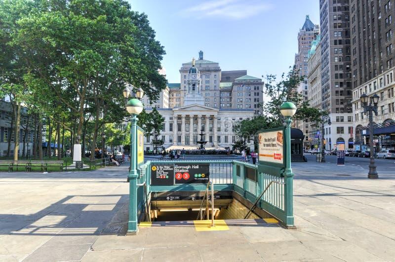 布鲁克林自治市镇霍尔地铁站 免版税图库摄影
