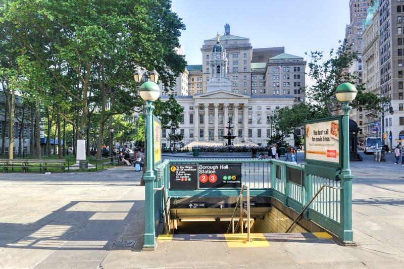布鲁克林自治市镇霍尔地铁站 免版税库存照片