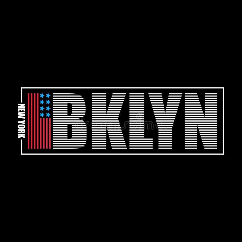 布鲁克林,纽约T恤杉的印刷术图表 打印有美国旗子和字法的- BKLYN运动衣裳 向量 皇族释放例证