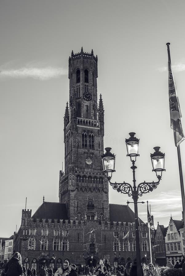 布鲁基,比利时- 2016年1月17日:贝尔福塔在布鲁日,旅游中心在富兰德市布鲁基和联合国科教文组织世界遗产 免版税图库摄影