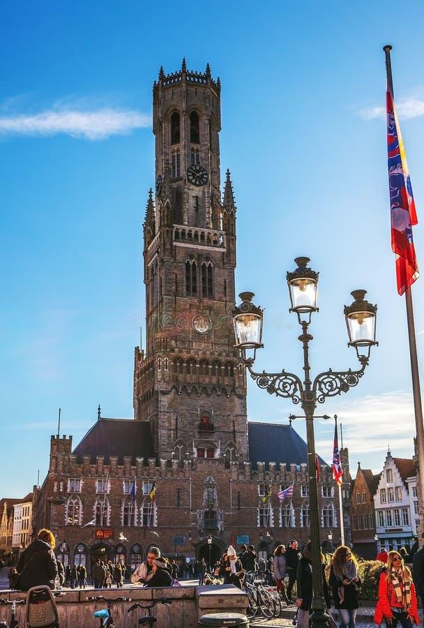 布鲁基,比利时- 2016年1月17日:贝尔福塔在布鲁日,旅游中心在富兰德市布鲁基和联合国科教文组织世界遗产 图库摄影