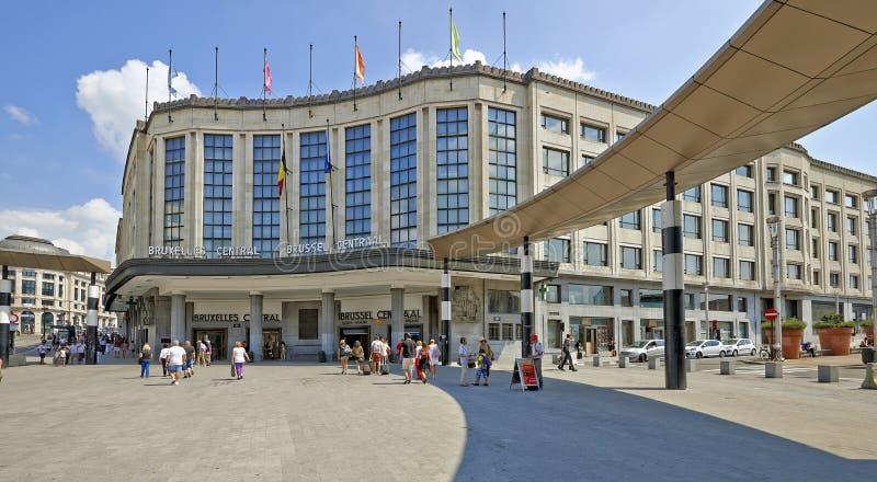布鲁塞尔中央主要火车站外部  免版税库存照片