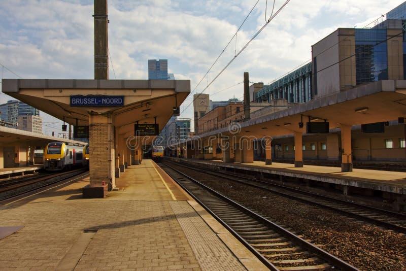 布鲁塞尔北部火车站的平台 库存图片