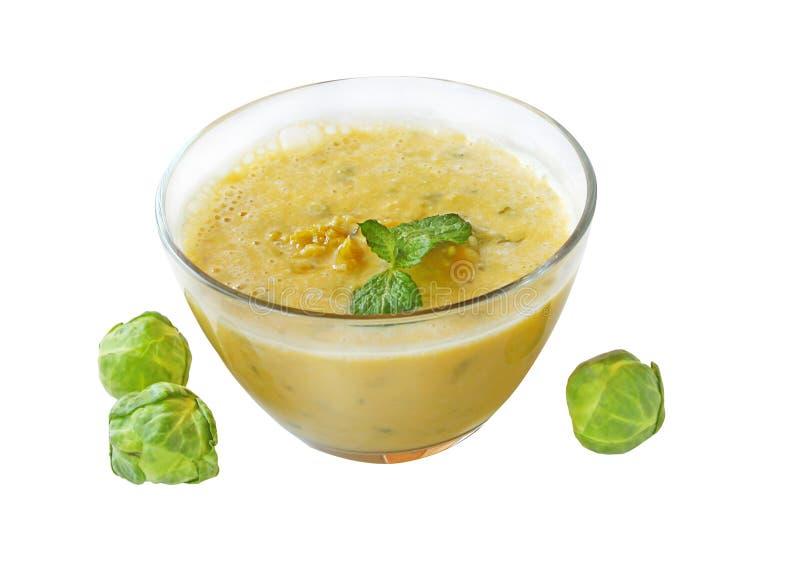 布鲁塞尔圆白菜南瓜纯汁浓汤汤 免版税库存照片