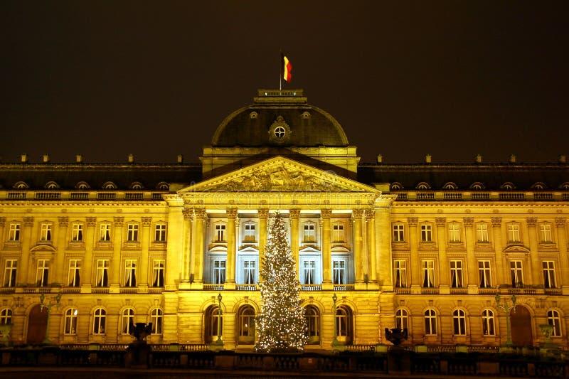 布鲁塞尔圣诞节前面palais皇家时间 库存照片