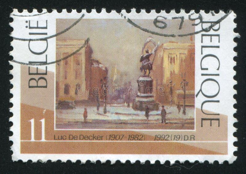 布鲁塞尔地方Royale在冬天卢克De Decker 库存照片