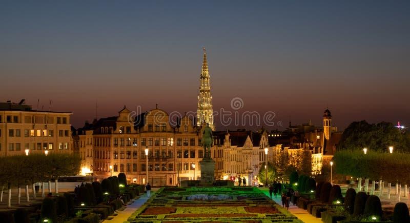 布鲁塞尔城镇厅尖顶布鲁塞尔大广场的在天际被看见,被拍摄从艺术山公园上 免版税库存图片