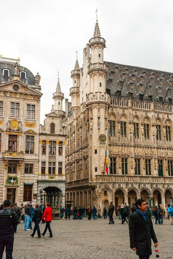 布鲁塞尔大广场和市政厅 库存图片