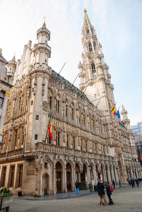 布鲁塞尔大广场和市政厅 免版税库存照片
