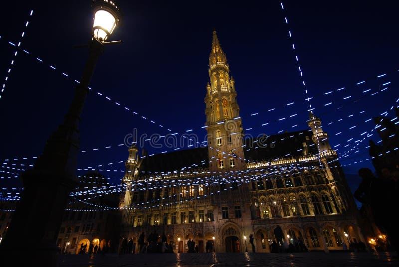 布鲁塞尔比利时在晚上 免版税库存图片
