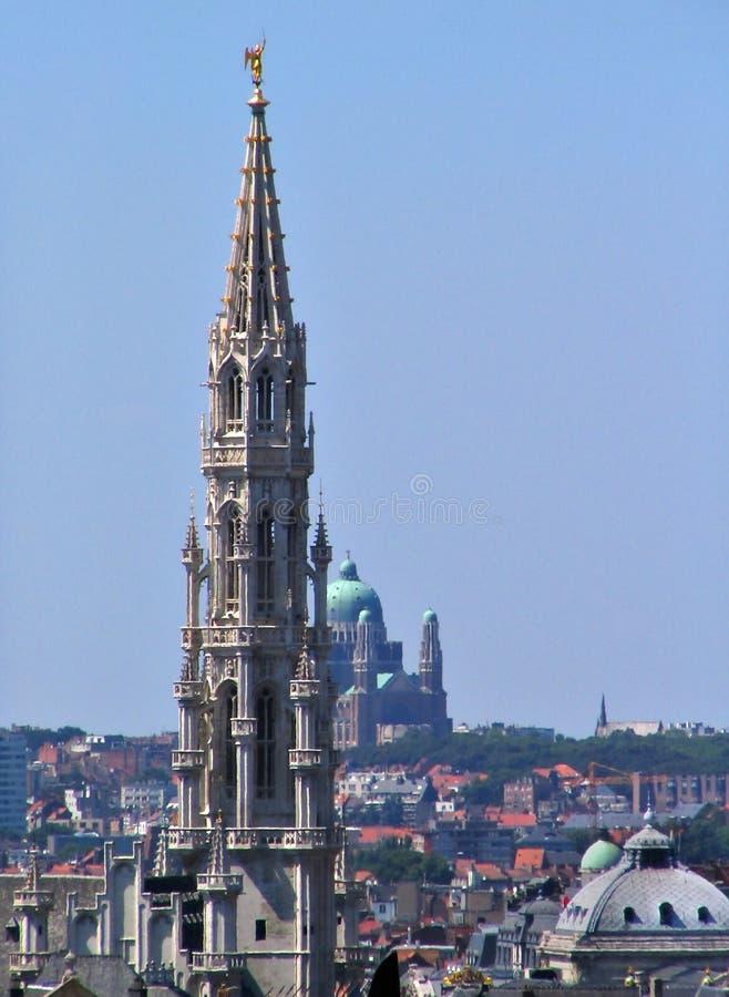 布鲁塞尔街市中世纪地平线 图库摄影