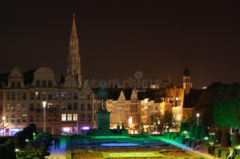 布鲁塞尔视图在晚上 免版税库存照片
