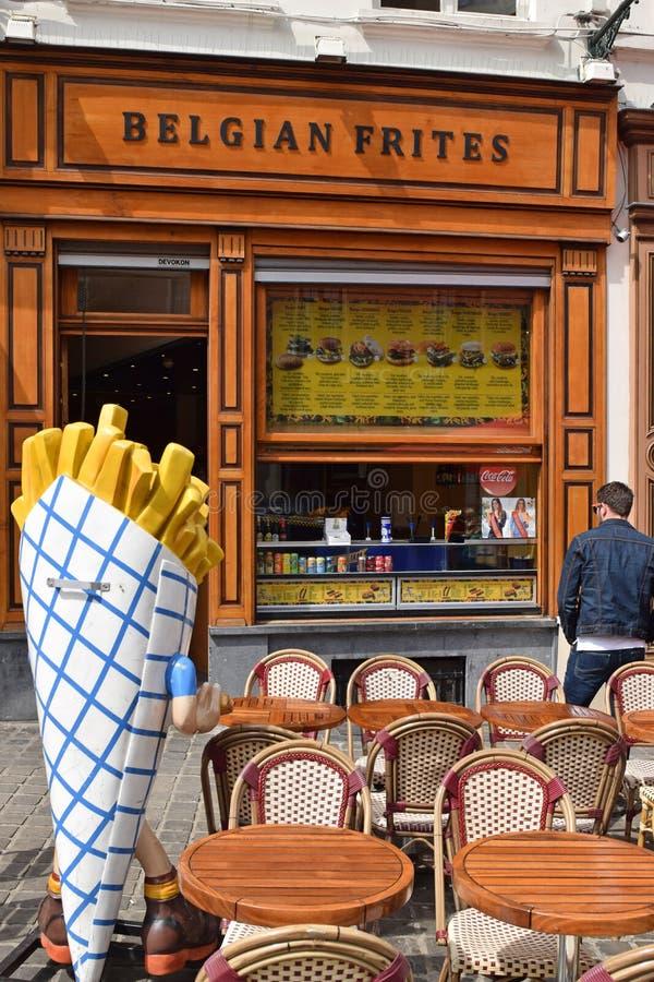 布鲁塞尔,比利时炸薯条餐馆 免版税库存图片