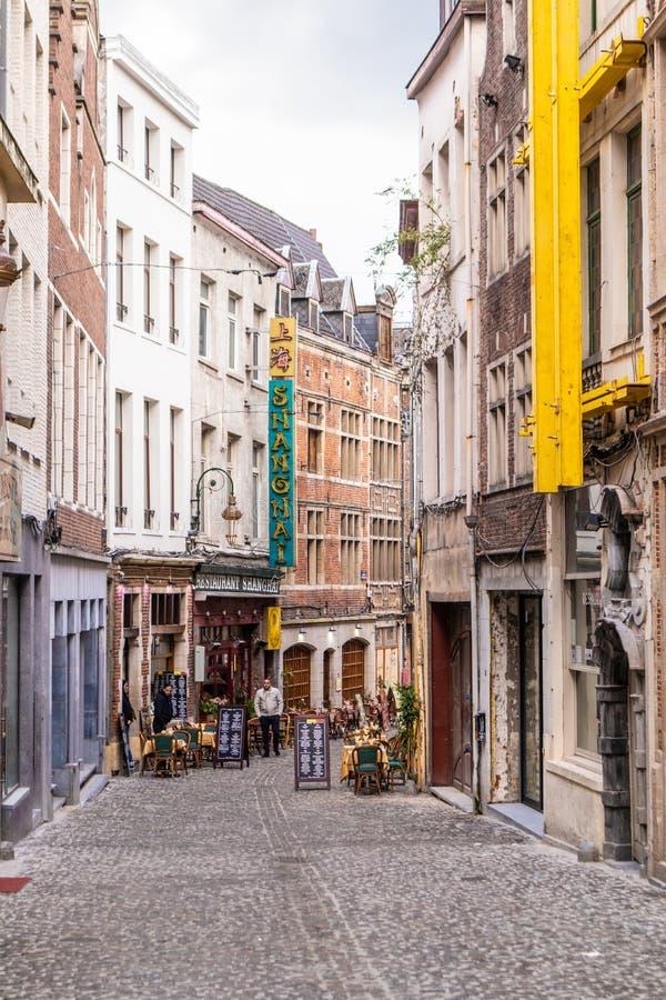 布鲁塞尔,比利时- 2019年4月4日:美丽的街道在布鲁塞尔 r 免版税库存图片