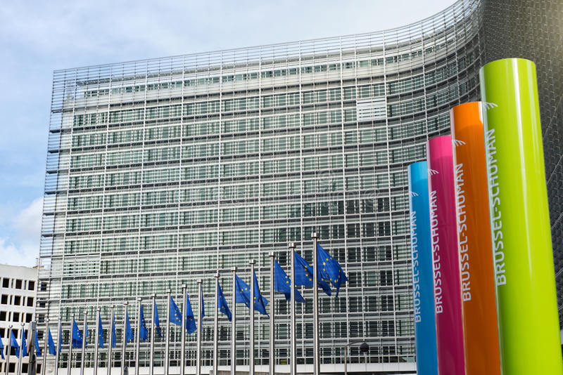 布鲁塞尔,比利时– 2014年2月24日:欧盟照片  免版税库存图片