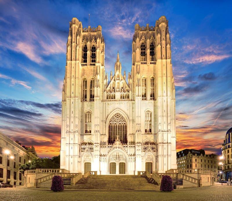 布鲁塞尔-圣迈克尔和圣Gudula,比利时大教堂  库存照片