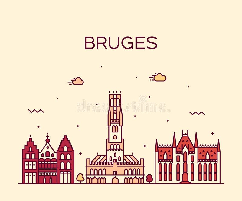 布鲁日地平线,西弗兰德省,比利时传染媒介线 皇族释放例证