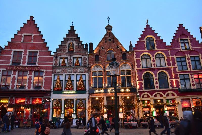 布鲁日老镇在圣诞节的比利时 库存图片