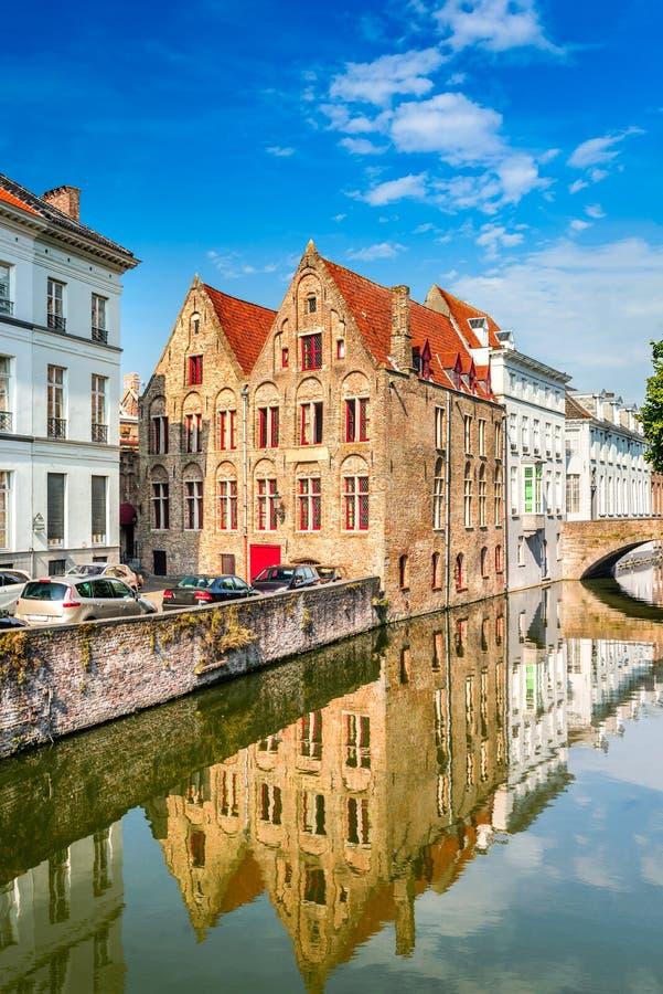 布鲁日运河,富兰德,比利时 免版税库存图片