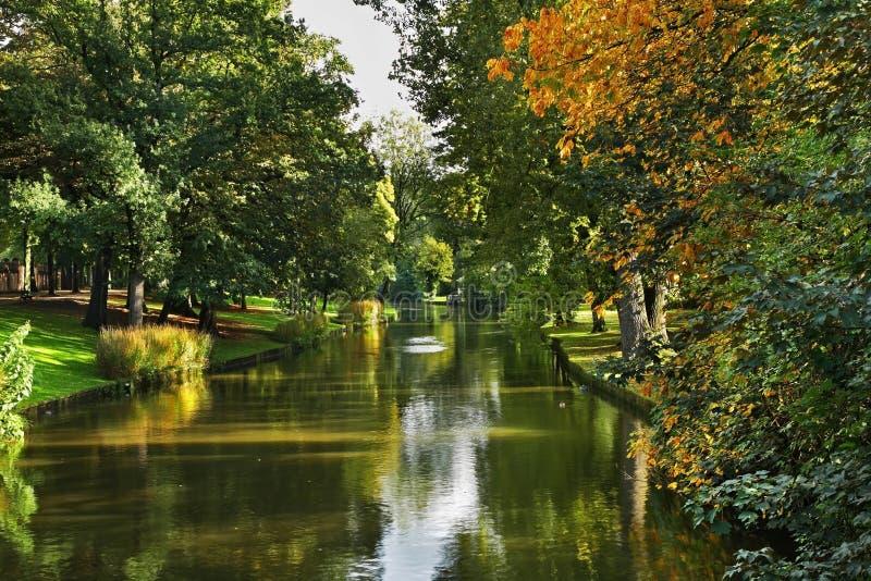 布鲁日运河 富兰德 比利时 库存照片