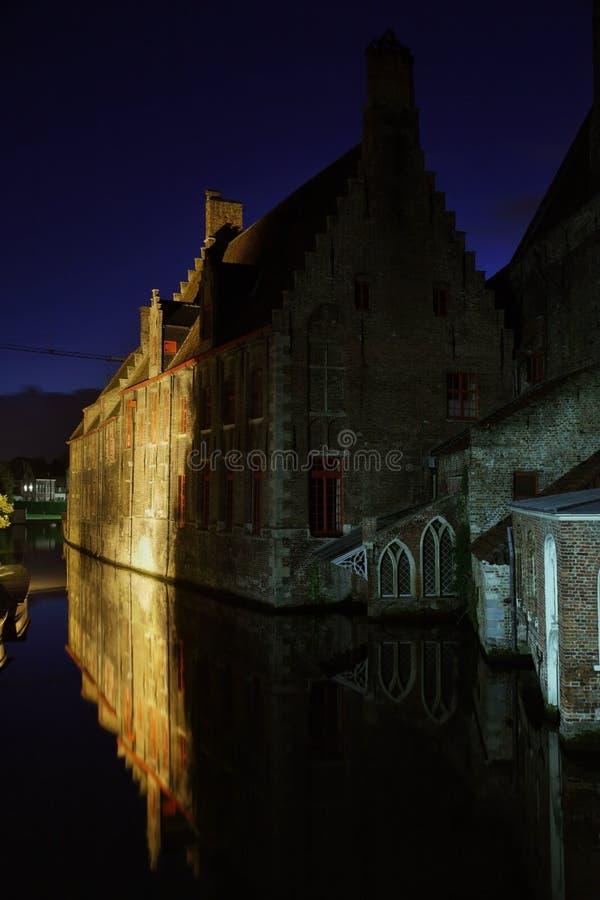 布鲁日运河 富兰德 比利时 免版税库存照片