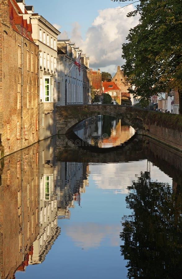 布鲁日运河 富兰德 比利时 免版税库存图片