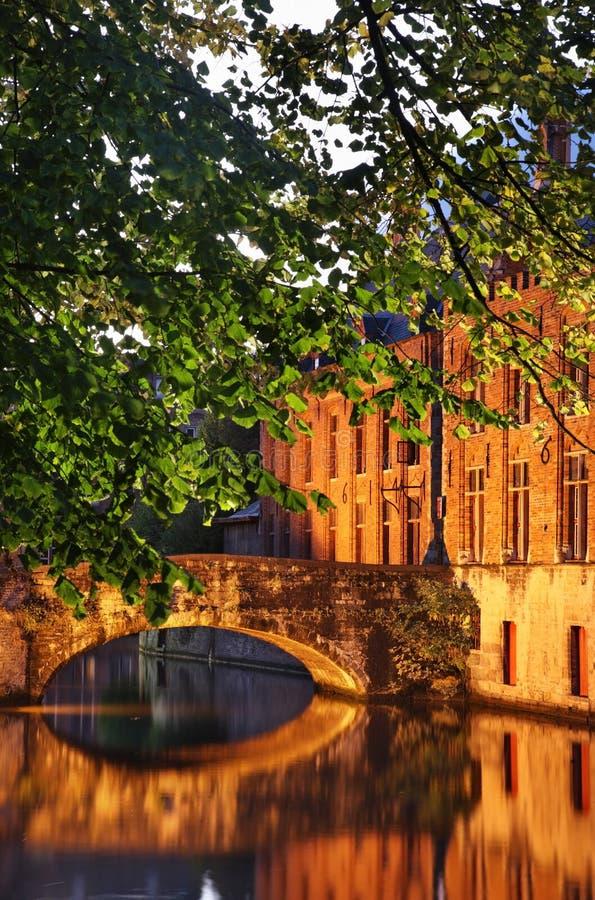 布鲁日运河 富兰德 比利时 免版税图库摄影