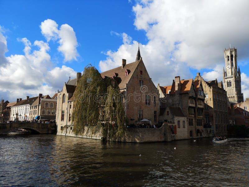 布鲁日,布鲁基,比利时 比利时布鲁日 中世纪的城市 贝尔福钟楼塔 免版税库存照片