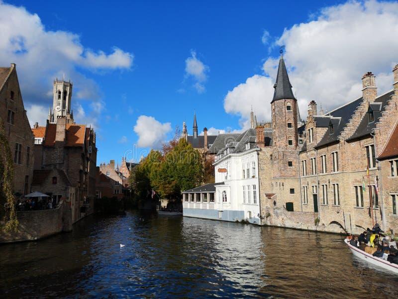 布鲁日,布鲁基,比利时 比利时布鲁日 中世纪的城市 贝尔福钟楼塔 库存图片