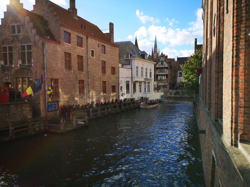 布鲁日,布鲁基,比利时 比利时布鲁日 中世纪的城市 库存照片