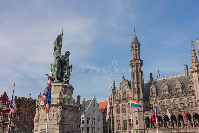布鲁日,比利时中心市场  库存图片