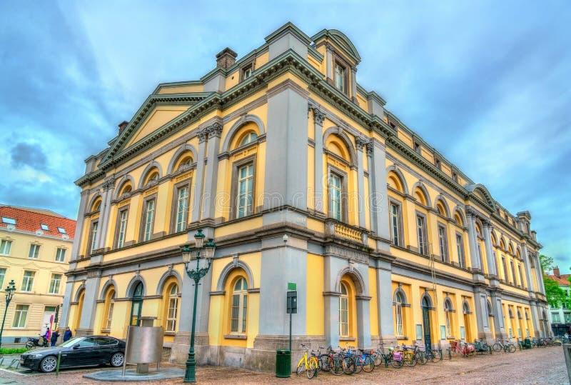 布鲁日,比利时城市剧院  免版税库存照片