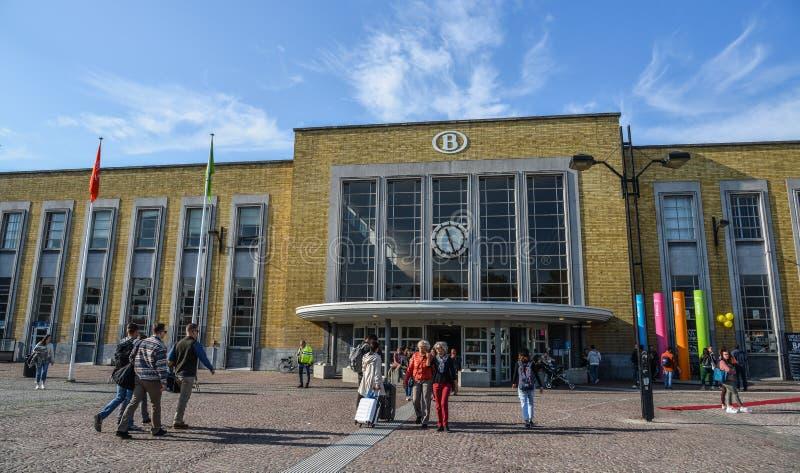 布鲁日,比利时的主要火车站 免版税库存图片