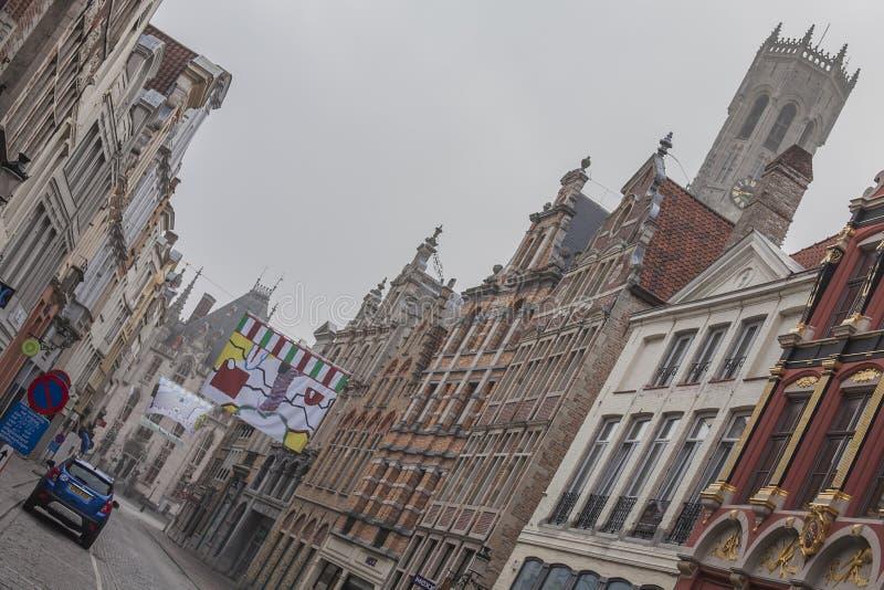 布鲁日,比利时,欧洲-好日子街道  库存图片