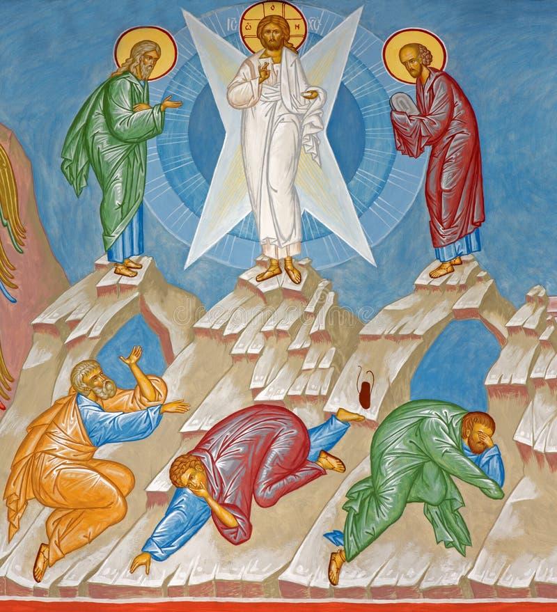 布鲁日-耶稣场面的变貌的壁画在st Constanstine和海伦娜orthodx教会里(2007年- 2008) 免版税图库摄影