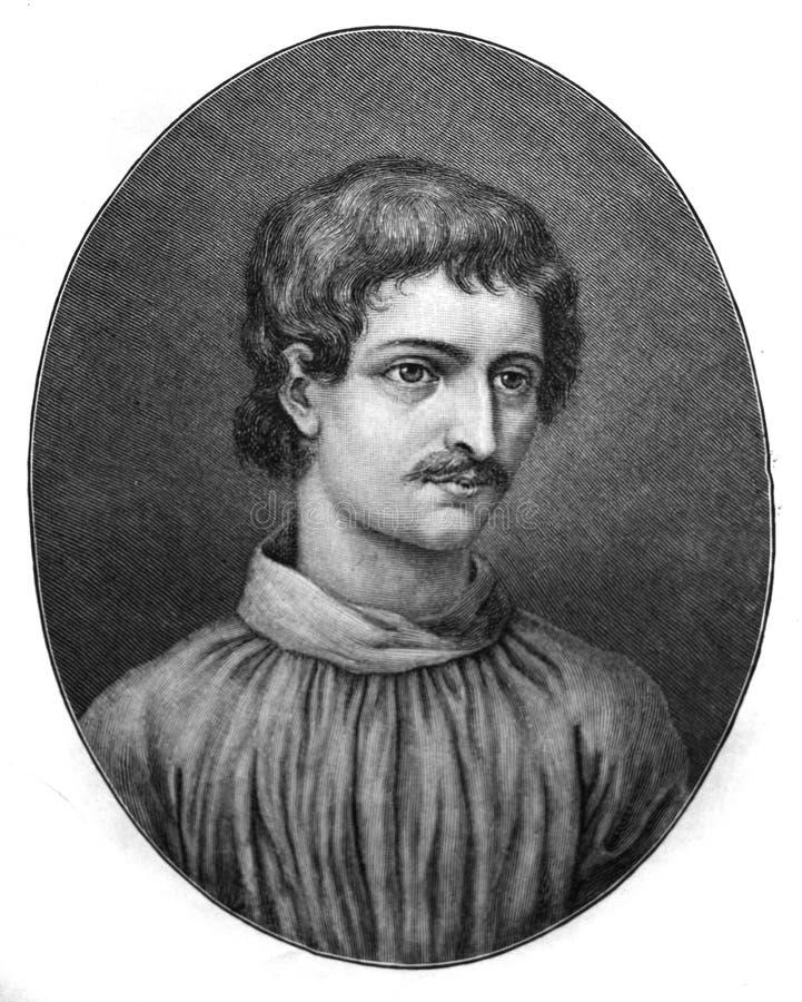 布鲁诺的画像,意大利的多米尼加朋友,哲学家,数学家,诗人,宇宙理论家,和斯里克斯 库存图片