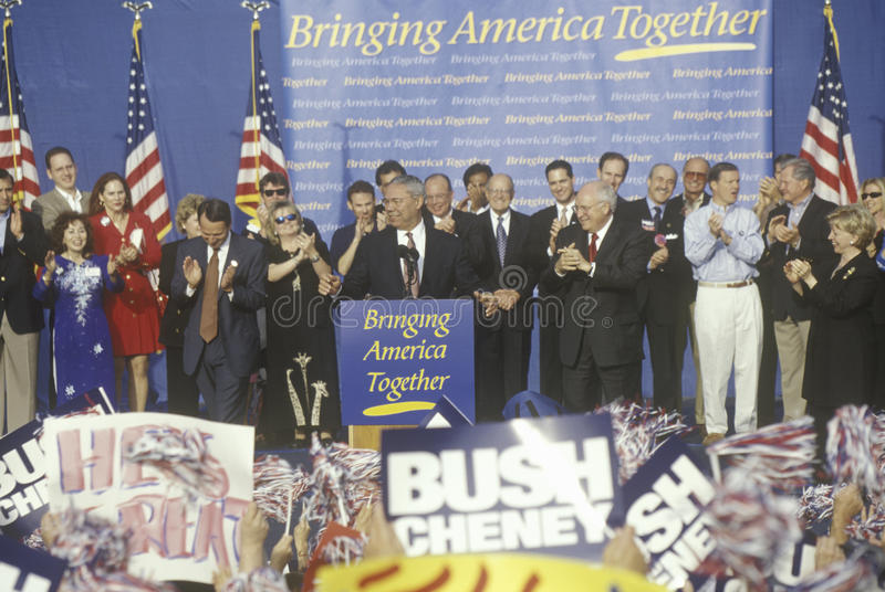 布什/切尼竞选集会在Costa Mesa,加州 免版税图库摄影